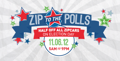 Zipcar is half-price today, to help you get to the polls